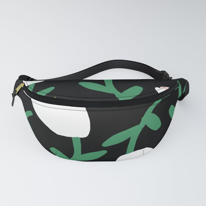 Tulips Dancing in White on Black Fanny Pack