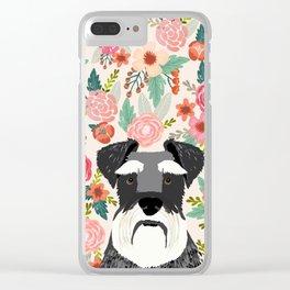 Schnauzer florals dog portrait dog art pet portraits by pet friendly Clear iPhone Case