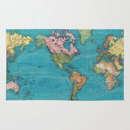 Vintage Map of The World (1897) Rug