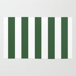 Hunter green - solid color - white vertical lines pattern Rug