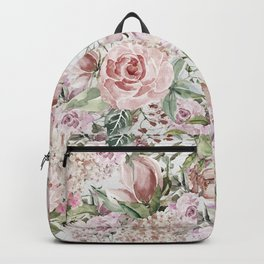 Blush pink lilac white lace country floral Backpack