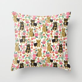 Yorkshire Terrier cute florals must have gifts for dog lover yorkie owners delight secret gifts art Throw Pillow