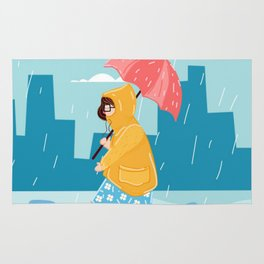 Walking Girl In Rain Day Rug