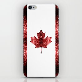 Canada flag red sparkles iPhone Skin