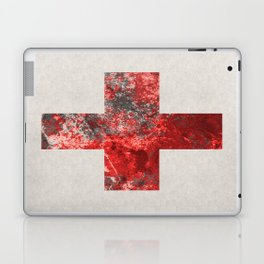 Medic - Abstract Medical Cross In Red And Black Laptop & iPad Skin