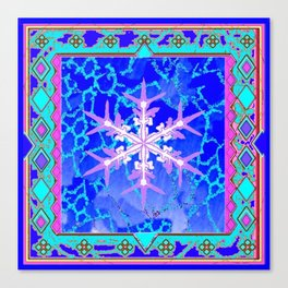 Blue Frozen Snowflake Abstract Art Canvas Print