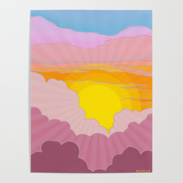 Sixties Inspired Psychedelic Sunrise Surprise Poster By
