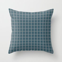 Christmas Winter Night Blue Tartan Check Plaid Throw Pillow