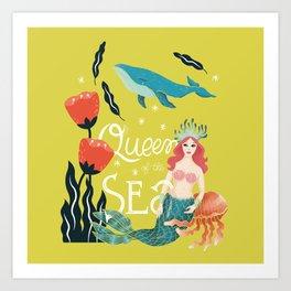 Queen of The sea - Yellow Art Print