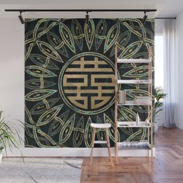 Double Happiness Symbol Gold and Abalone Wall Mural