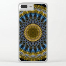 Mandala in golden and blue tones Clear iPhone Case