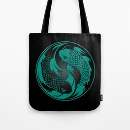 Teal Blue and Black Yin Yang Koi Fish Tote Bag