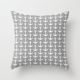 Grey and White Nautical - Beach Cottage - Gray Anchor Throw Pillow