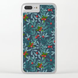 Christmas tree, cranberry, mistletoe Clear iPhone Case