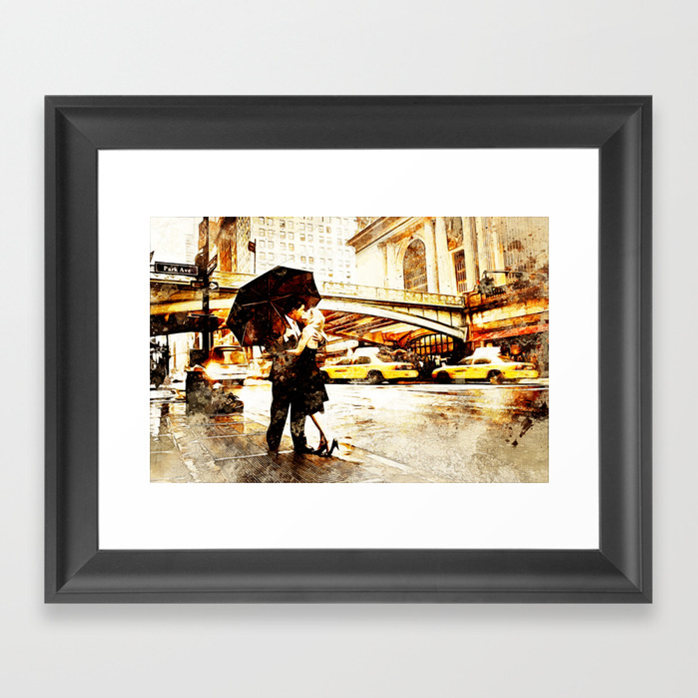 Love In The Rain (loving The Rain) Framed Art Print by D77thedigartist FRM8597572