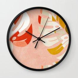 shapes leave minimal abstract art Wall Clock