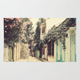Just like a dream street, Cartagena (Retro and Vintage Urban, architecture photography) Rug