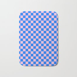 Cotton Candy Pink and Brandeis Blue Checkerboard Bath Mat