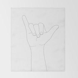 Minimal Line Art Shaka Hand Gesture Throw Blanket
