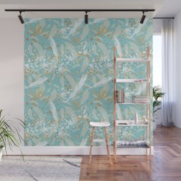 Golden Peacock Feather Pattern 04 Wall Mural