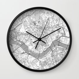 Seoul Map Line Wall Clock