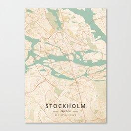 Stockholm, Sweden - Vintage Map Canvas Print