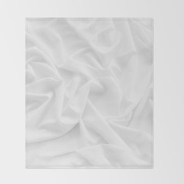 MINIMAL WHITE DRAPED TEXTILE Throw Blanket