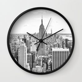 New York City, Manhattan (Black & White) Wall Clock