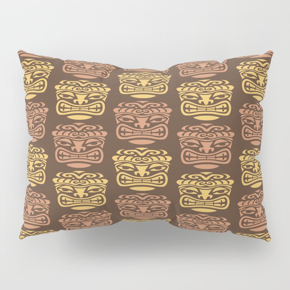 Tiki Pattern Brown Yellow Pillow Sham by Tonymagner PSH9056556