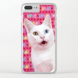 Happy Valentine's Day Kitten Clear iPhone Case