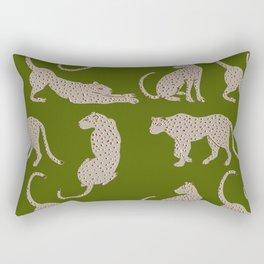 Leopard Block Party - Olive Rectangular Pillow