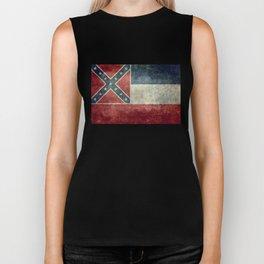 Mississippi State Flag - Distressed version Biker Tank