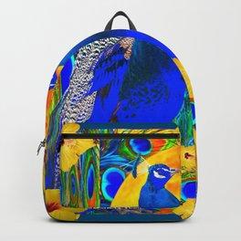 TEAL YELLOW HIBISCUS & BLUE PEACOCKS ART Backpack