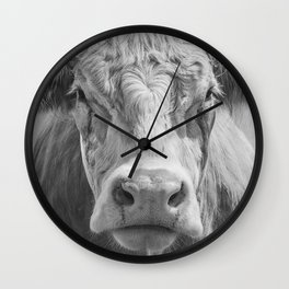 Animal Photography | Cow Portrait Black and White | Farm Animals Wall Clock