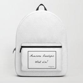 Awesome developer. What else? Backpack