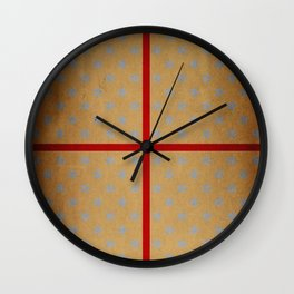 Present wrapped in gold paper and red ribbon Wall Clock