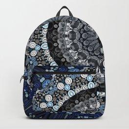 Dark Blue Grey Mandala Design Backpack