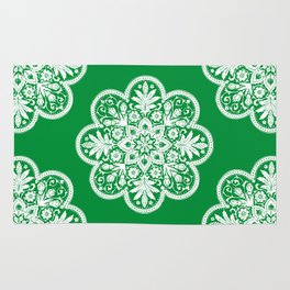 Floral Doily Pattern | Green and White Rug
