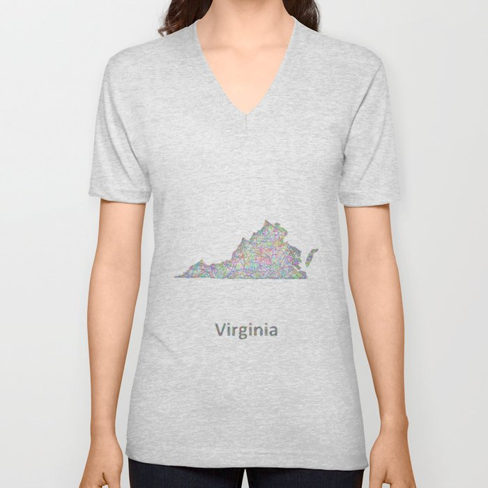 Virginia map Unisex V-Neck
