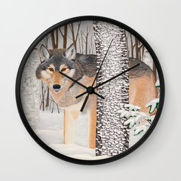 Lone Wolf Searching Wall Clock