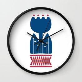Nordic Blue Flower Wall Clock
