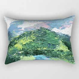 Gunnison: a vibrant acrylic mountain landscape in greens, blues, and a splash of pink Rectangular Pillow