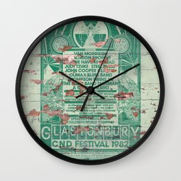 Distressed Glastonbury 1982 Poster Wall Clock