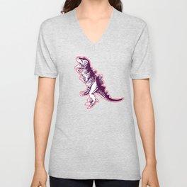 Dino Pop Art - T-Rex - Neon Pink & Dark Purple Unisex V-Neck