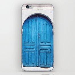 Vibrant Blue Greek Door to Whitewashed Home in Crete, Greece iPhone Skin