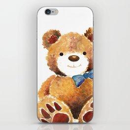 Watercolor Painted Teddy Bear iPhone Skin
