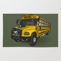 school Area & Throw Rugs featuring School bus by mangulica illustrations
