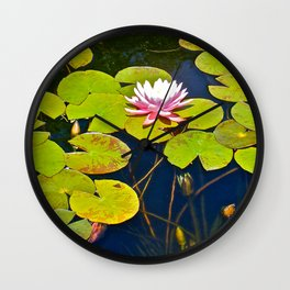 Water Lily in the Fountain Wall Clock