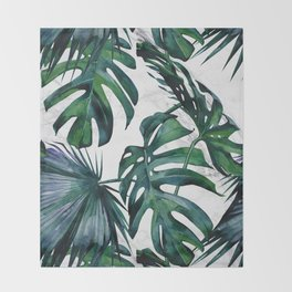 Tropical Palm Leaves Classic on Marble Throw Blanket