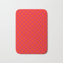 Scarlet Red and Crimson Red Checkerboard Bath Mat